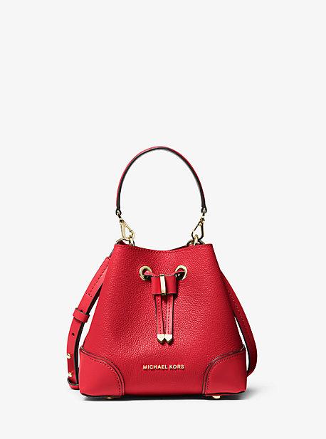 마이클 마이클 코어스 Michael Michael Kors Mercer Gallery Extra-Small Pebbled Leather Crossbody Bag,BRIGHT RED