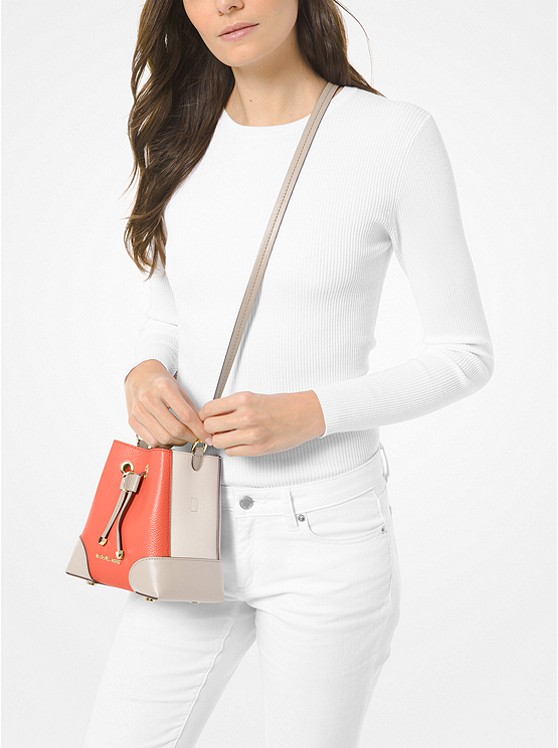 Mercer Gallery Extra-Small Color-Block Pebbled Leather Crossbody Bag PNKGRPFT MLT