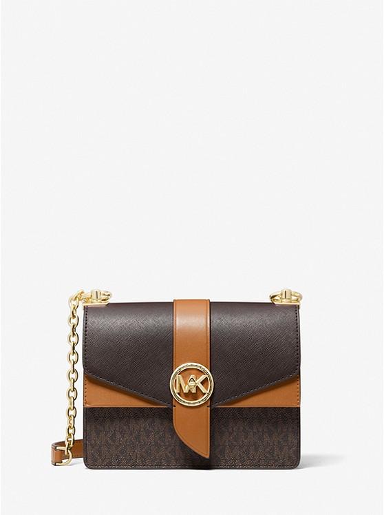 Greenwich Small Color-Block Logo and Saffiano Leather Crossbody Bag BRN/ACORN