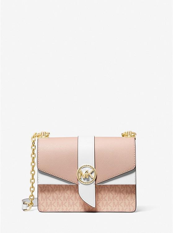 Greenwich Small Color-Block Logo and Saffiano Leather Crossbody Bag