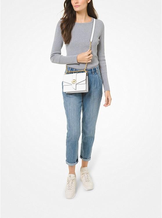 Greenwich Small Saffiano Leather Crossbody Bag OPTIC WHITE