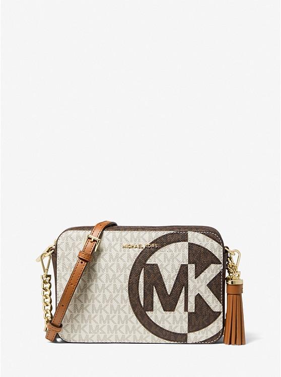 Ginny Medium Two-Tone Logo Crossbody Bag