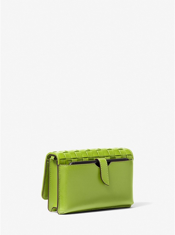 Jet Set Small Woven Leather Smartphone Convertible Crossbody Bag LIME