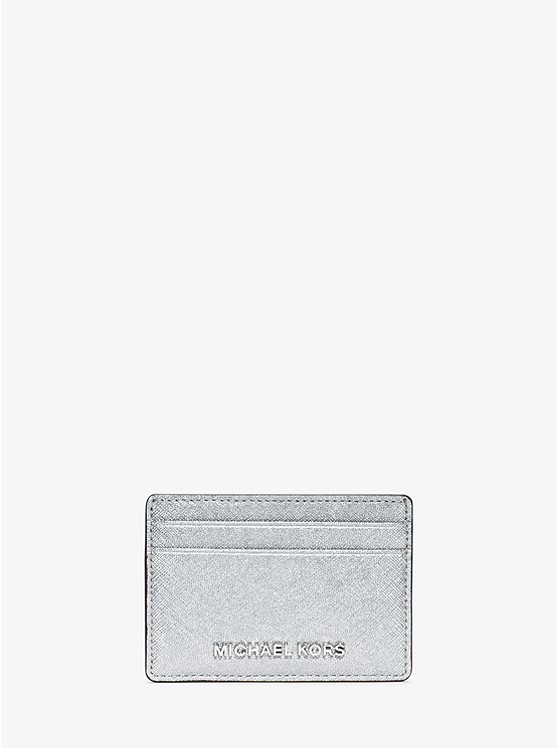 Jet Set Travel Metallic Saffiano Leather Card Case