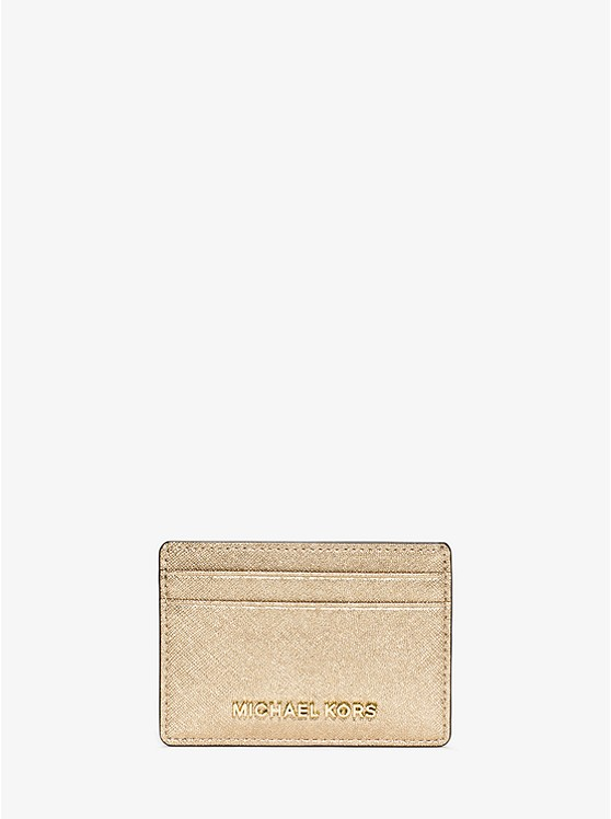 porte carte michael kors Travel Metallic Saffiano Leather Card Case | Michael Kors