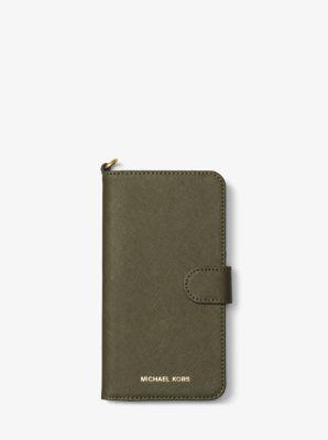 saffiano leather folio phone case for iphone 7 8 plus. Black Bedroom Furniture Sets. Home Design Ideas