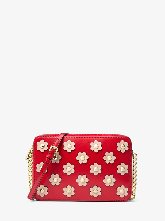 Jet Set Floral Appliqué Leather Crossbody