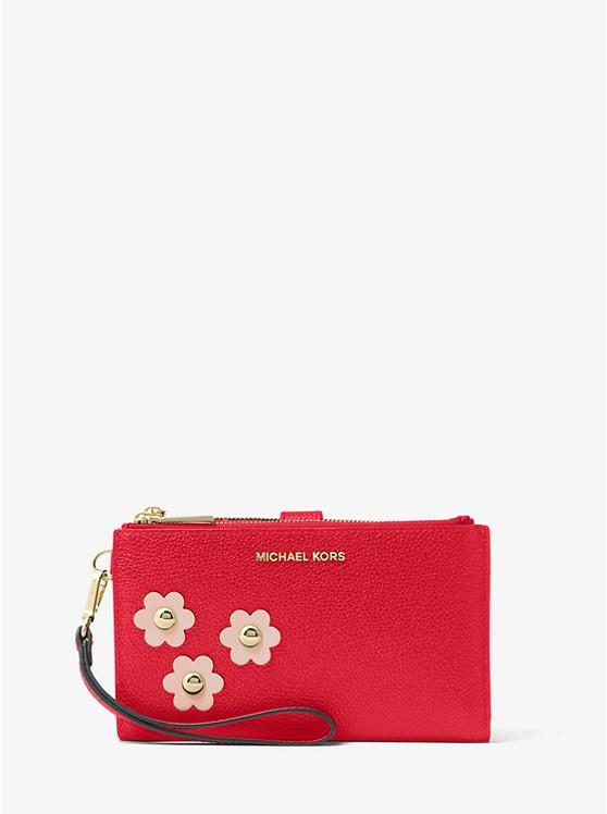 Adele Floral Appliqué Leather Smartphone Wristlet