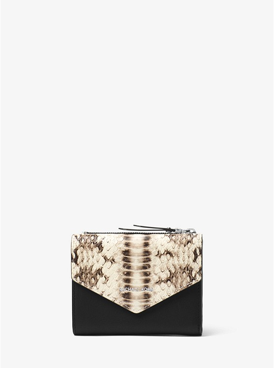 Jet Set Small Snake-Embossed Leather Envelope Wallet