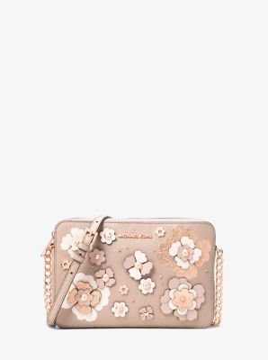11a83bc21180 Jet Set Floral Embellished Leather Crossbody Bag | Michael Kors