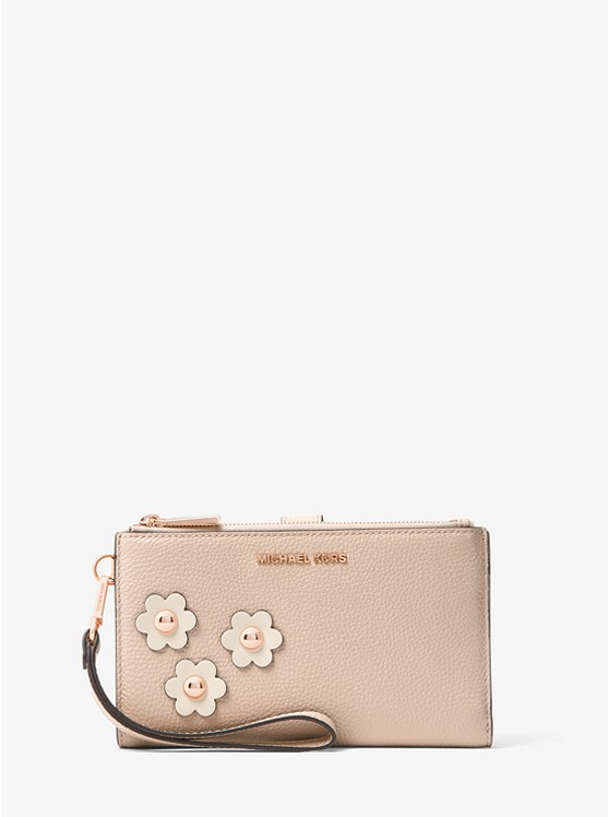 Adele Floral Appliqué Leather Smartphone Wristlet