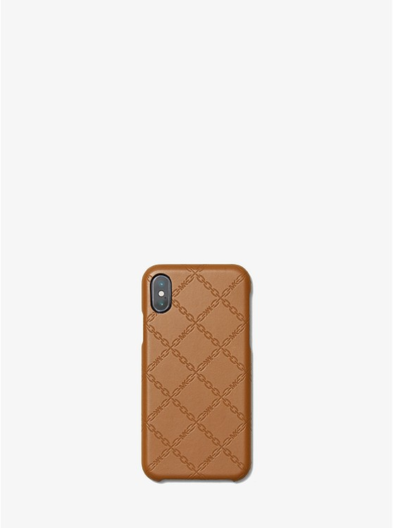 brand new 3a693 e5f56 Chain-Embossed Leather Case For iPhone X/XS