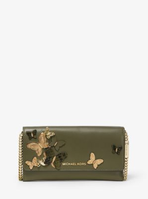 541d3ec659d83d Large Butterfly Embellished Leather Convertible Chain Wallet - OLIVE -  32S9GF5C3K