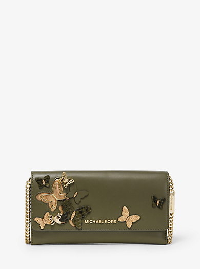 63c391b52724 Large Butterfly Embellished Leather Convertible Chain Wallet. michael  michael kors ...