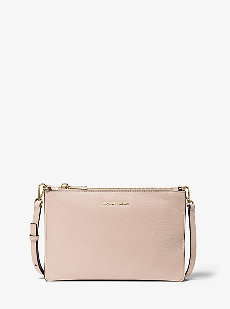 Large Pebbled Leather Double pouch Crossbody   Michael Kors
