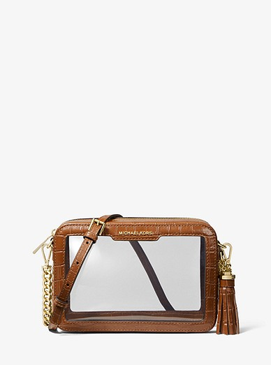 5d03f074ba96 Ginny Medium Clear And Leather Crossbody Bag | Michael Kors