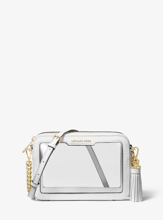 Ginny Medium Clear And Leather Crossbody Bag by Michael Michael Kors