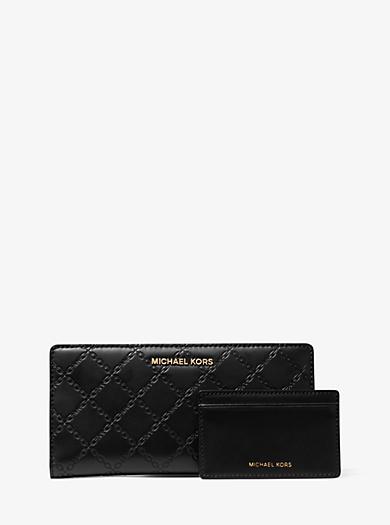 c869298e7bdd Large Chain-Embossed Leather Slim Wallet · michael michael kors ...