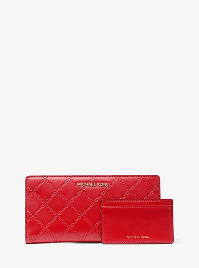 184d19a56b7e Large Chain-embossed Leather Slim Wallet | Michael Kors