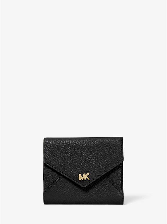 Mittelgroße Brieftasche Aus Gekrispeltem Leder Mit Umschlag