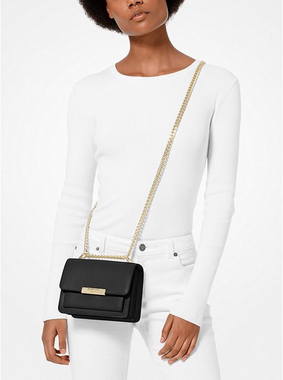 Jade Extra-Small Leather Crossbody Bag BLACK