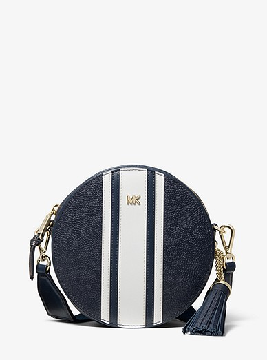 ab10364761a9 Logo Tape Pebbled Leather Canteen Crossbody Bag | Michael Kors
