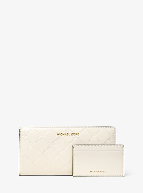 Large Chain-Embossed Leather Slim Wallet