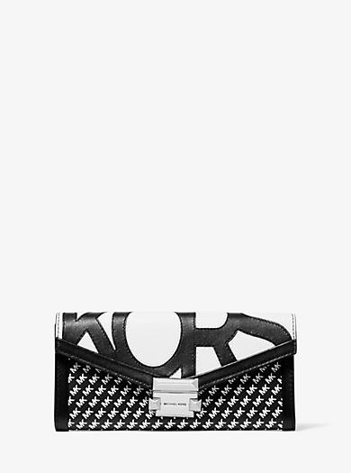 Portafoglio Whitney grande con logo grafico e catena. michael michael kors  ... b0cbdbfa8e9