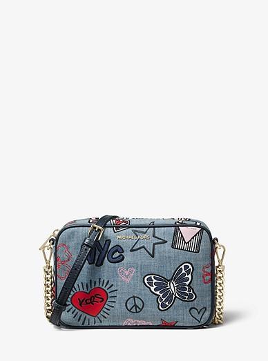 a15055d20f0d Ginny Medium Embroidered Denim Crossbody Bag   Michael Kors