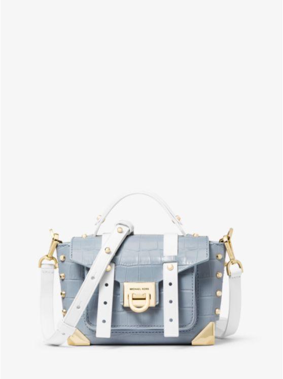 Manhattan Extra-Small Crocodile-Embossed Leather Crossbody Bag