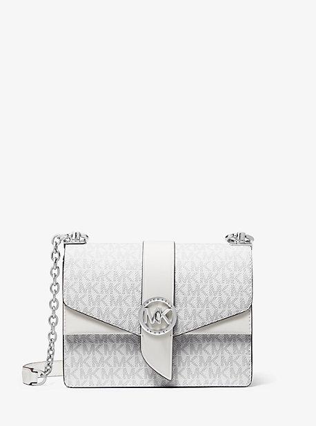 마이클 마이클 코어스 Michael Michael Kors Greenwich Small Color-Block Logo and Saffiano Leather Crossbody Bag,BRIGHT WHT