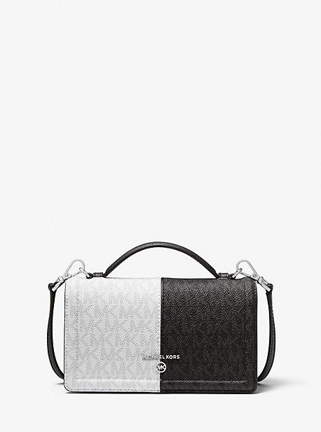 마이클 마이클 코어스 Michael Michael Kors Jet Set Small Two-Tone Logo Smartphone Crossbody Bag,BLACK COMBO