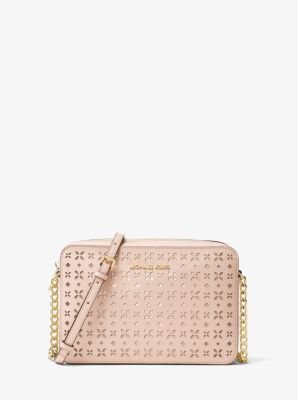 bbc475f0bb48 Jet Set Travel Large Perforated-Leather Crossbody | Michael Kors