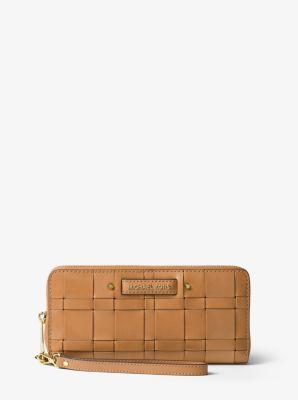 4f7a9d4660a0 Vivian Woven Leather Continental Wallet | Michael Kors