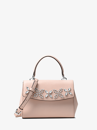 michael kor purses outlet mhiu  Ava Extra-Small Crystal-Embellished Leather Crossbody