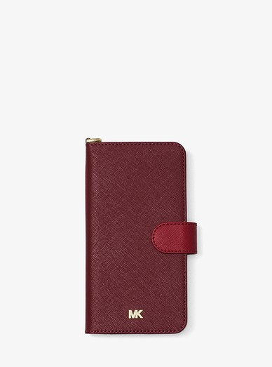 69f6d92a5295 Color-block Saffiano Leather Folio Case For Iphone 7 8 Plus