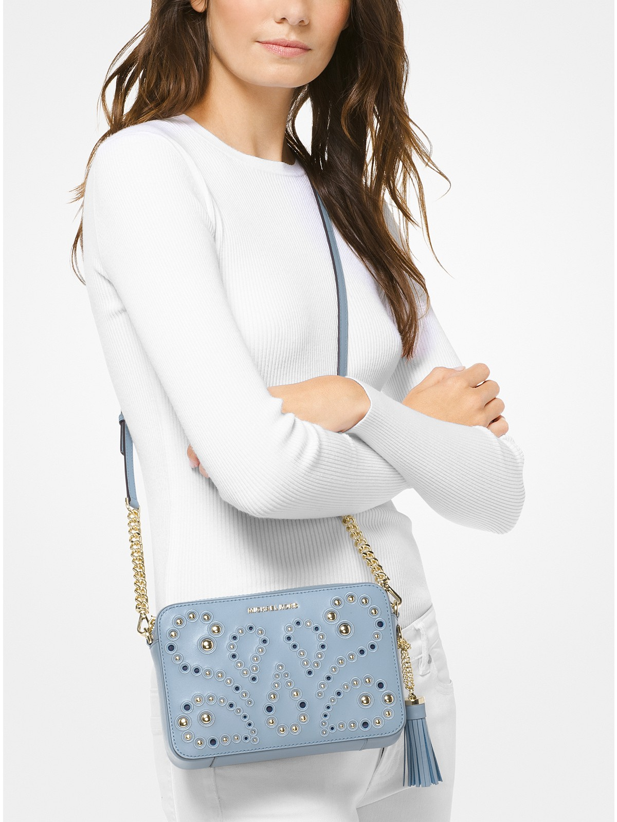 2c83e5f737a2 Michael Kors Ginny Medium Embellished Leather Crossbody at £195 ...