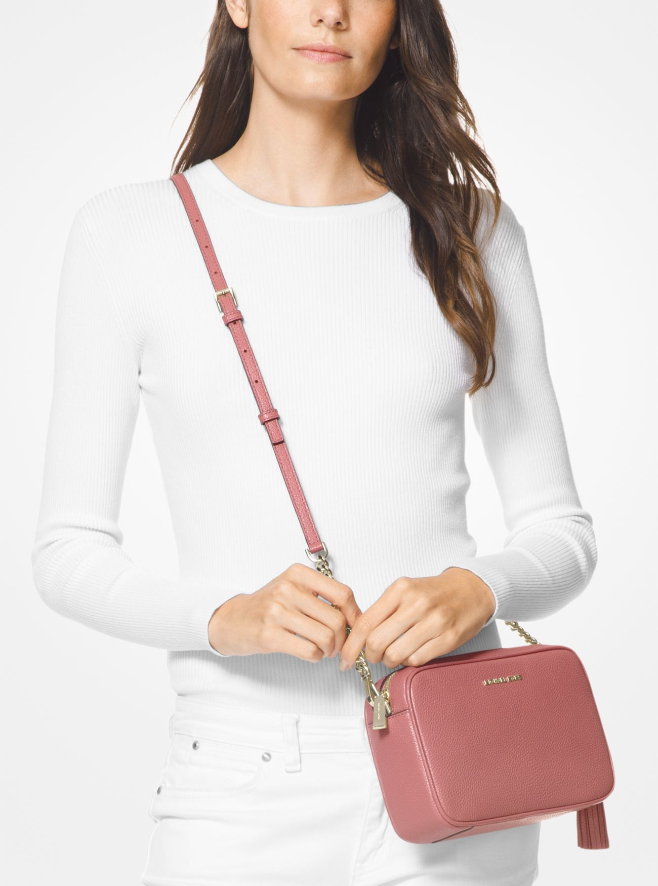 e6105cef9bd14 ... Ginny Medium Pebbled Leather Crossbody Bag. MICHAEL Michael Kors
