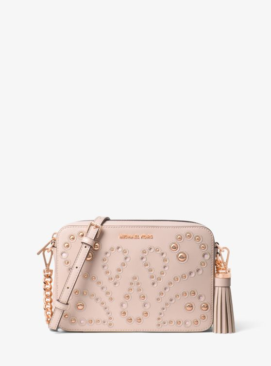 Ginny Medium Embellished Leather Crossbody by Michael Michael Kors