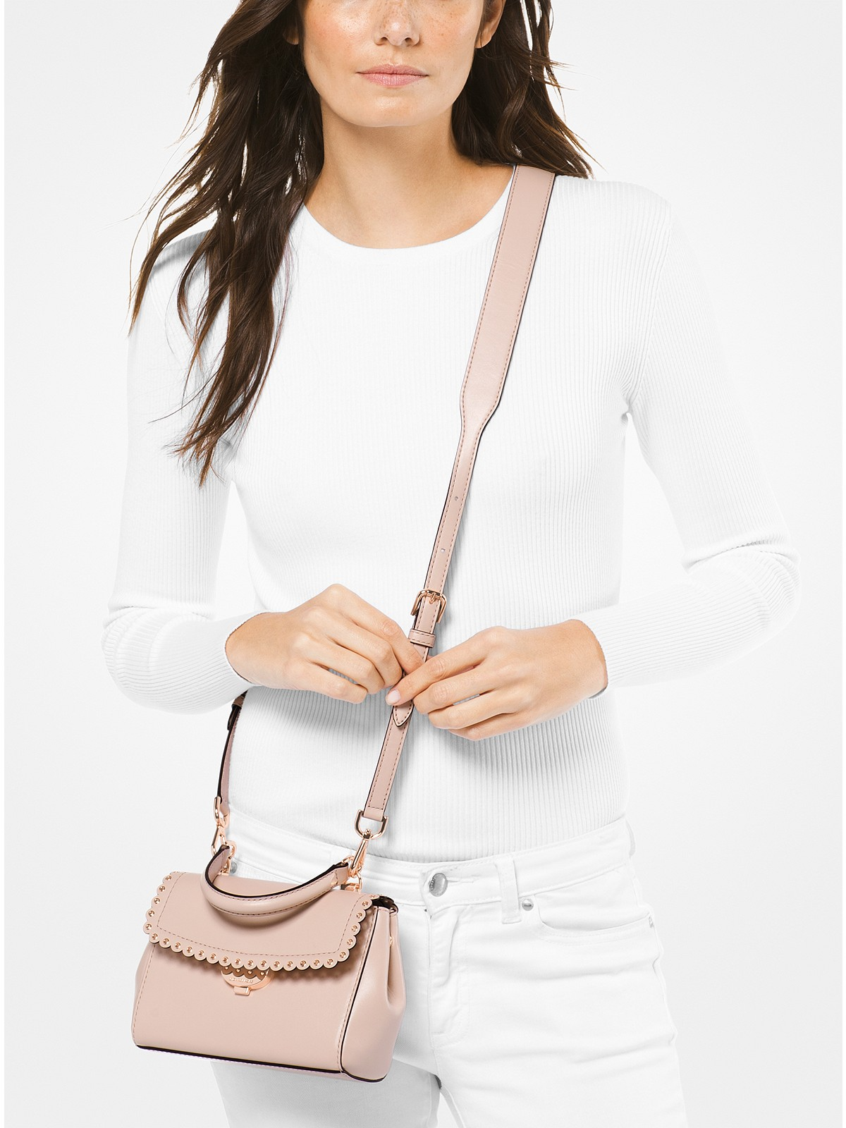 b3f4ee200d1e17 Michael Kors Ava Extra-Small Scalloped Leather Crossbody at £225 ...