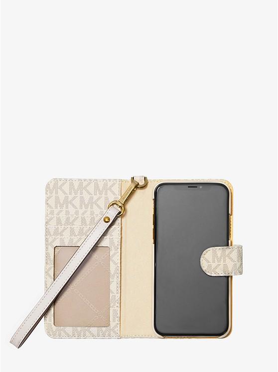 08f514d69a42 ... Logo Stripe Wristlet Folio Case For iPhone X XS ...