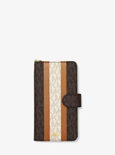 best website 6be74 244b3 Logo Stripe Wristlet Folio Case For iPhone XS Max | Michael Kors
