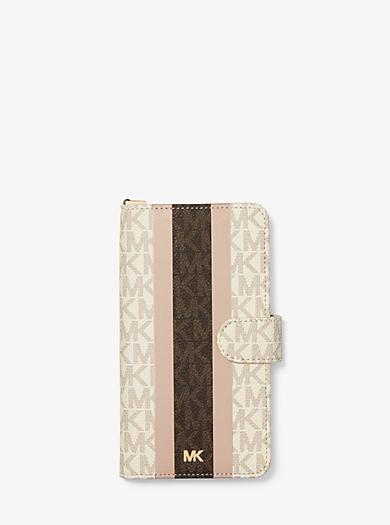 cf92e4847c5f Logo Stripe Wristlet Folio Case For iPhone XS Max. michael michael kors ...