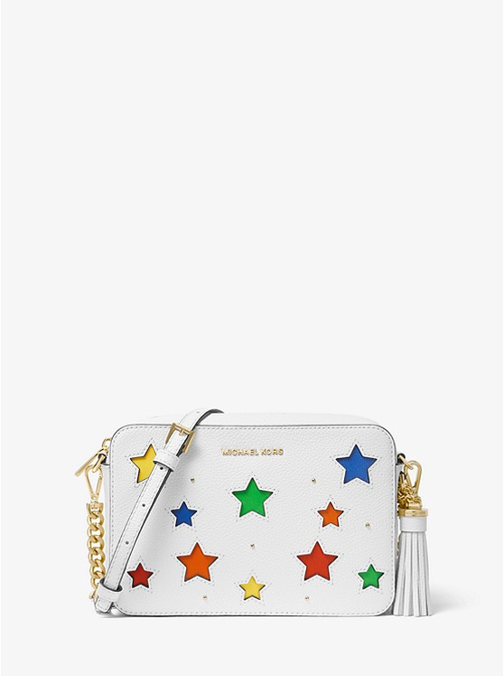 Ginny Medium Star Cutout Pebbled Leather Crossbody Bag by Michael Kors
