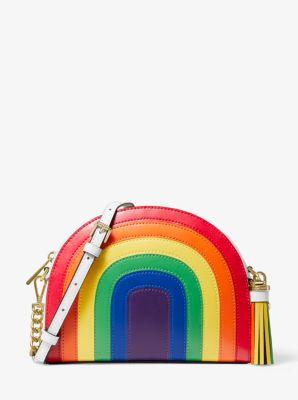 Ginny Rainbow Leather Half Moon Crossbody Bag Michael Kors