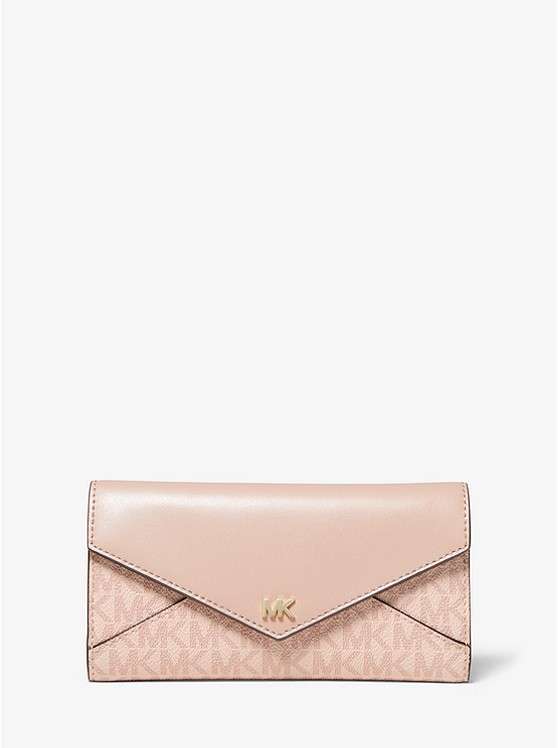 Large Logo And Leather Envelope Wallet by Michael Michael Kors
