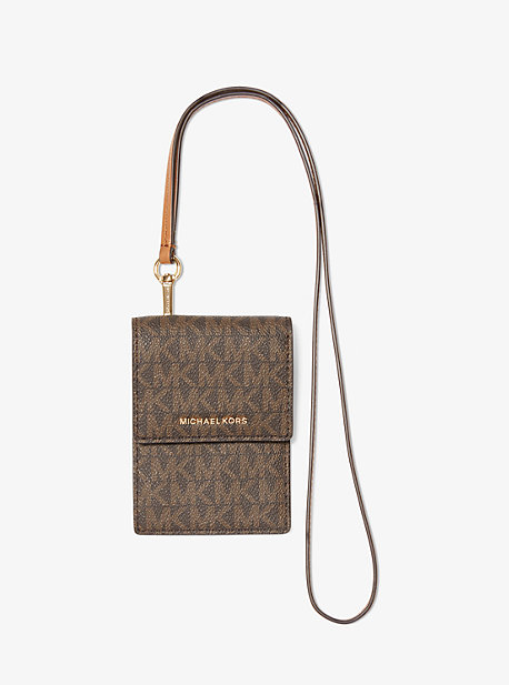 마이클 마이클 코어스 목걸이 카드지갑 Michael Michael Kors Jet Set Logo Card Case with Lanyard,BROWN
