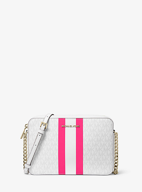 80b0486c0 Jet Set Large Logo Stripe Crossbody Bag · michael michael kors ...