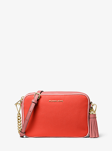 7e6c45fb08fb Ginny Medium Two-Tone Pebbled Leather Crossbody Bag. michael michael kors  ...