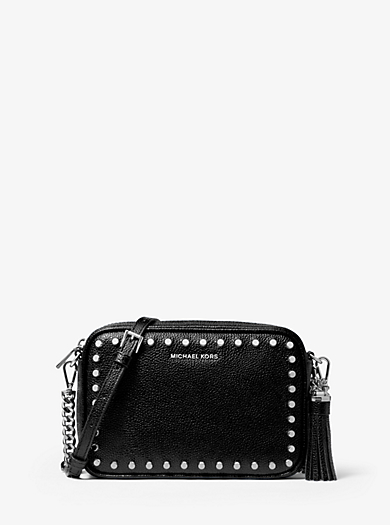 f9727178b982 Ginny Medium Studded Pebbled Leather Crossbody Bag · michael michael kors  ...
